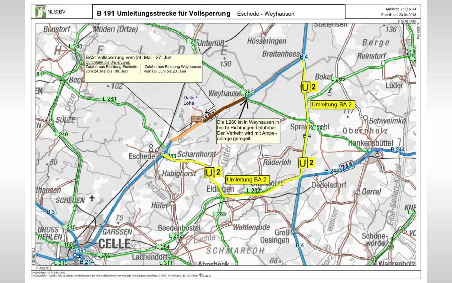 Vollsperrung der Bundesstraße 191 – Erneuerung 2. Teilabschnitt zwischen Eschede und Weyhausen