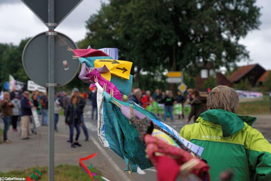 """Bunte Kunst gegen Braun"": Demo in Eschede zeigt Flagge"