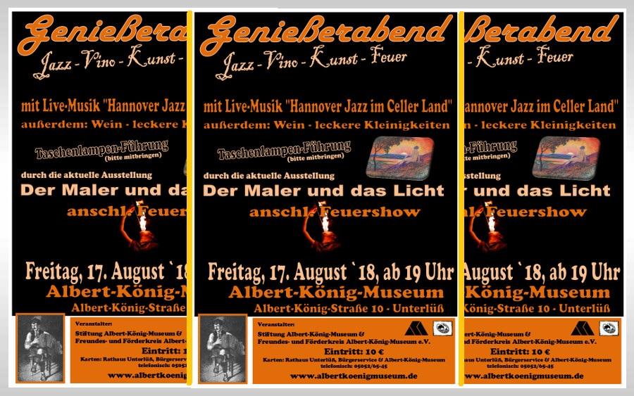 Genießerabend im Albert-König-Museum Unterlüß: Jazz – Vino – Taschenlampen-Führung – Feuer