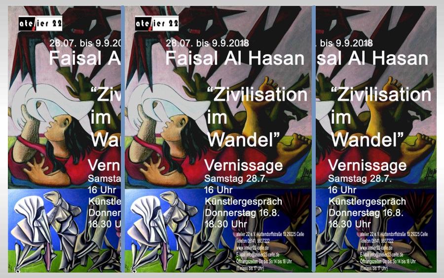 """Vernissage """"Zivilisation im Wandel"""" von Faisal Al Hasan im atelier 22"""