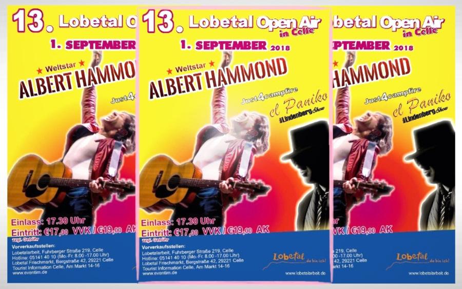 Das 13. Lobetal Open Air mit ALBERT HAMMOND  in Celle ist fast ausverkauft!!