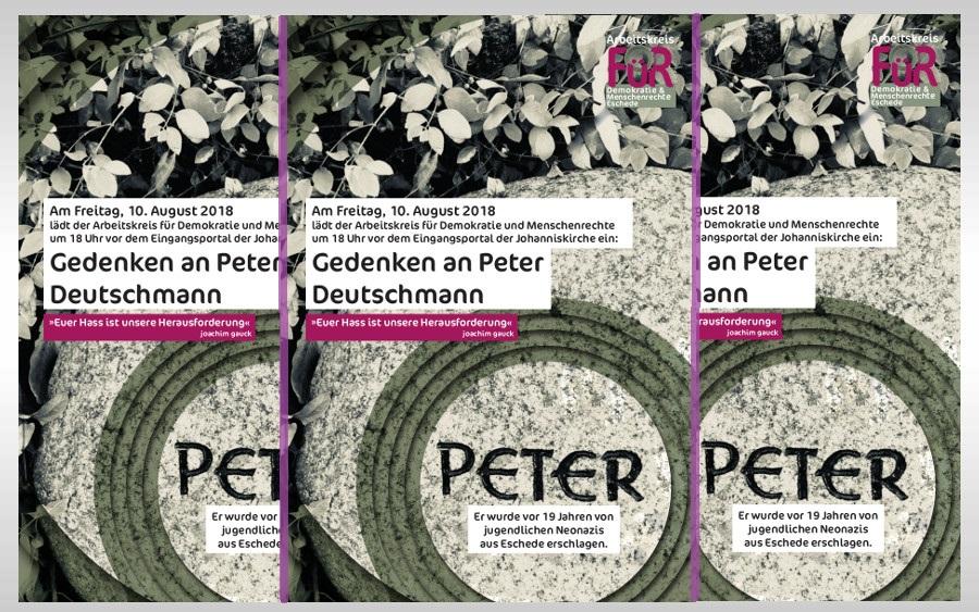 Gedenken zum Todestag von Peter Deutschmann am 10. August
