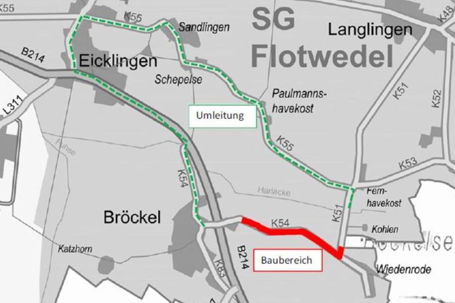 Kreisstraße bei Bröckel ab Dienstag (4.9.) gesperrt – Auf der K54 Richtung Wiedenrode muss die Fahrbahn erneuert werden