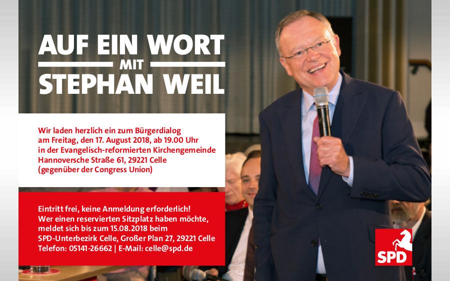 """Ministerpräsident und SPD-Landesvorsitzender Stephan Weil in der kommenden Woche in Winsen/ Aller und zum Bürgerdialog """"Auf ein Wort"""" in Celle"""