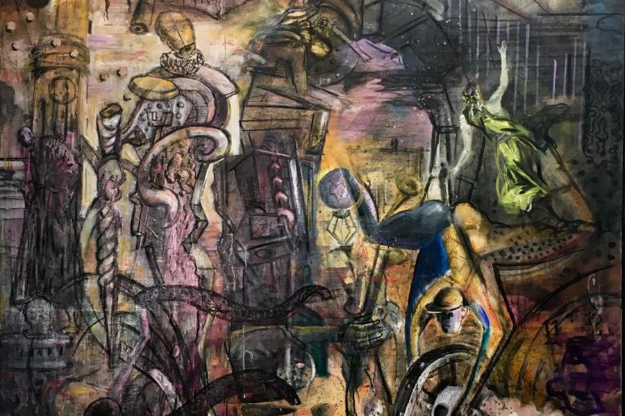 """Unterwegs zwischen Bildern – Letzte Sonntagsführung durch die Ausstellung """"Frank Schult. WELT"""" im Kunstmuseum"""