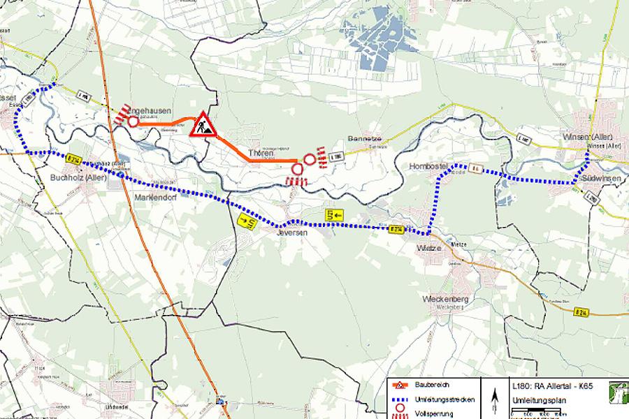 L 180: Fahrbahn- und Radwegerneuerung zwischen der Rastanlage Allertal und der Kreisstraße 65