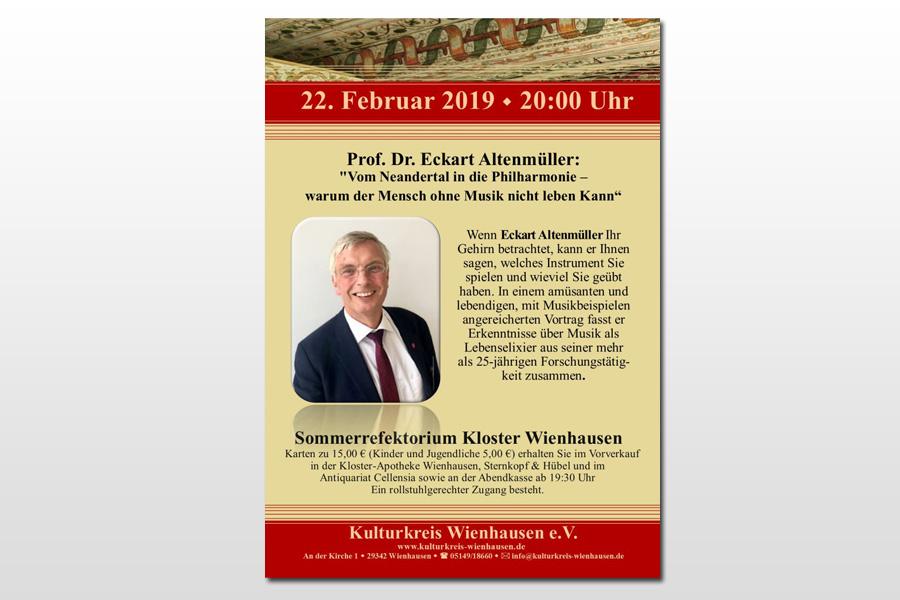 Vortrag mit Musikbeispielen mit Prof. Dr. Eckart Altenmüller, Facharzt für Neurologie und Konzertflötist