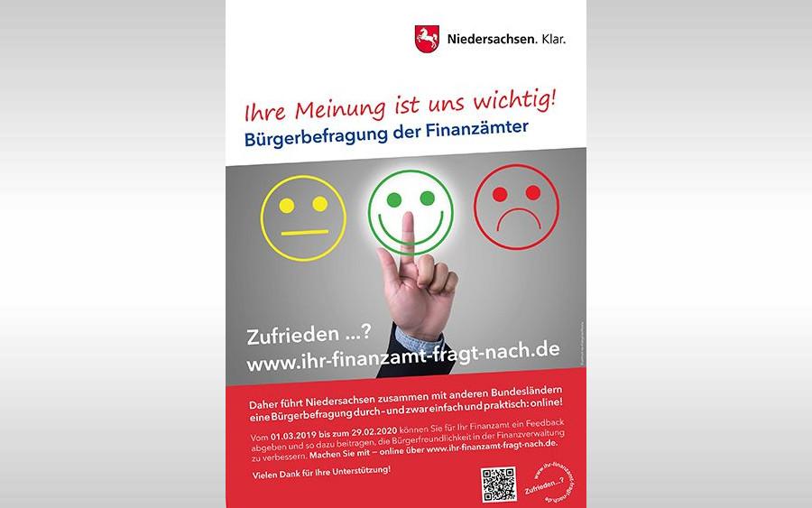 Zufrieden…? Ihr Finanzamt fragt nach: Start der bundesweiten Online-Befragung zur Zufriedenheit der Bürgerinnen und Bürger mit ihrem Finanzamt