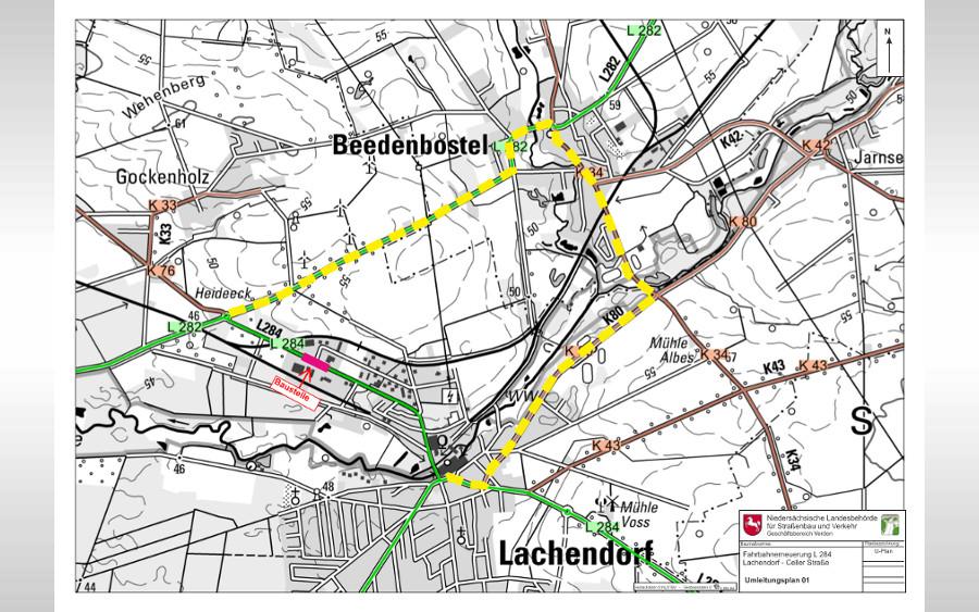 """L 284: Fahrbahnerneuerung Lachendorf; Kreuzungsbereich """"Im Bulloh""""/""""Celler Straße"""""""