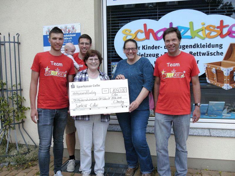 Der Kinderschutzbund (DKSB) sagt Danke für die große Spende in Höhe von 1.050 € von Jumicar!