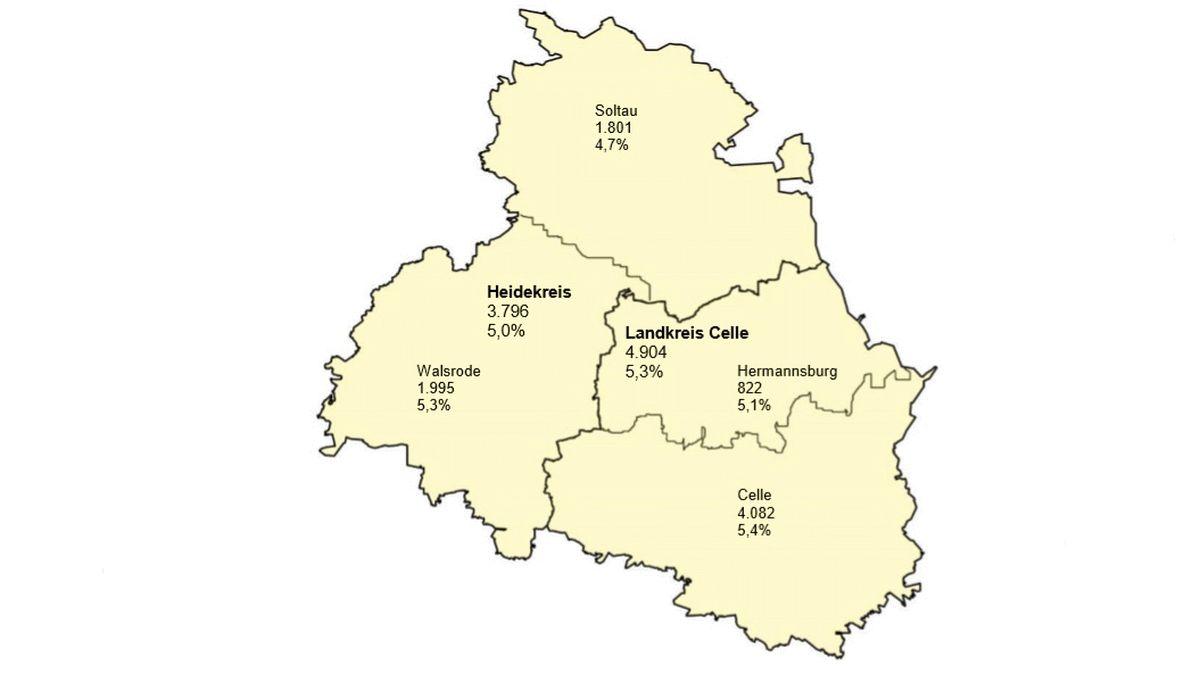 Unterschiedliche Arbeitslosenzahlentrends in Heidekreis und Landkreis Celle – Landkreis Celle setzt Abwärtstrend fort – Anzahl der sozialversicherungspflichtig Beschäftigten steigt
