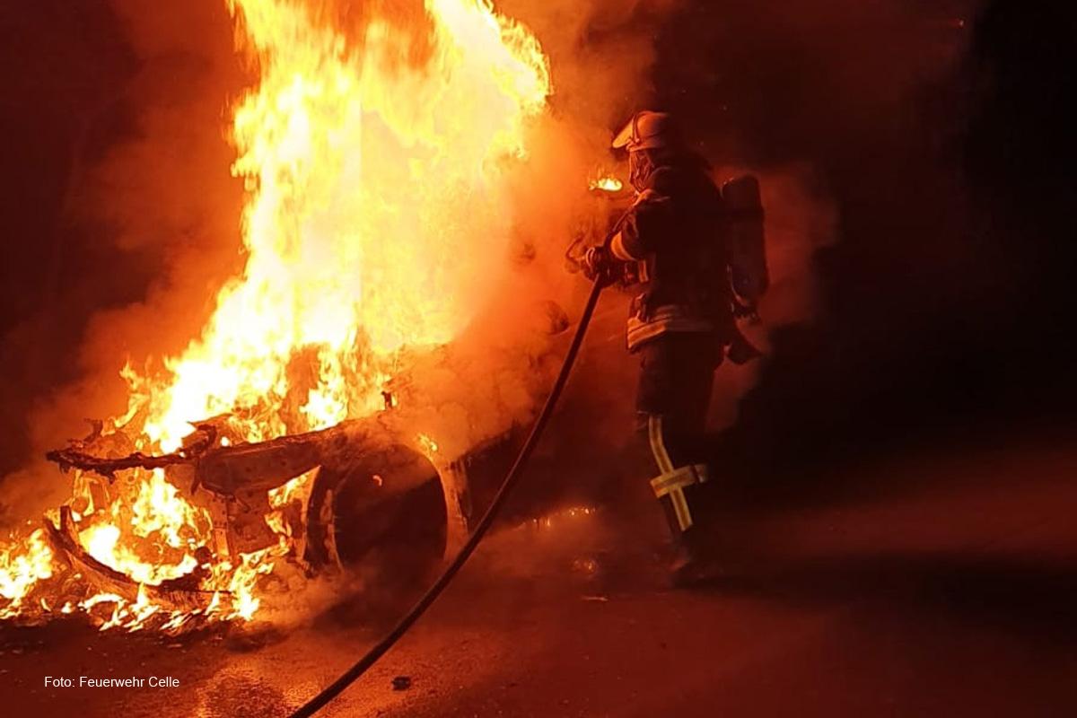 PKW-Brand auf der L310