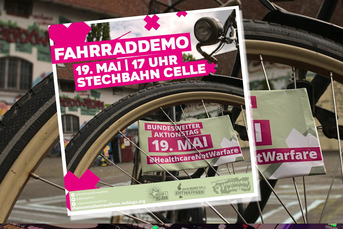 #HealthcareNotWarfare –  Fahrraddemo am 19. Mai in Celle
