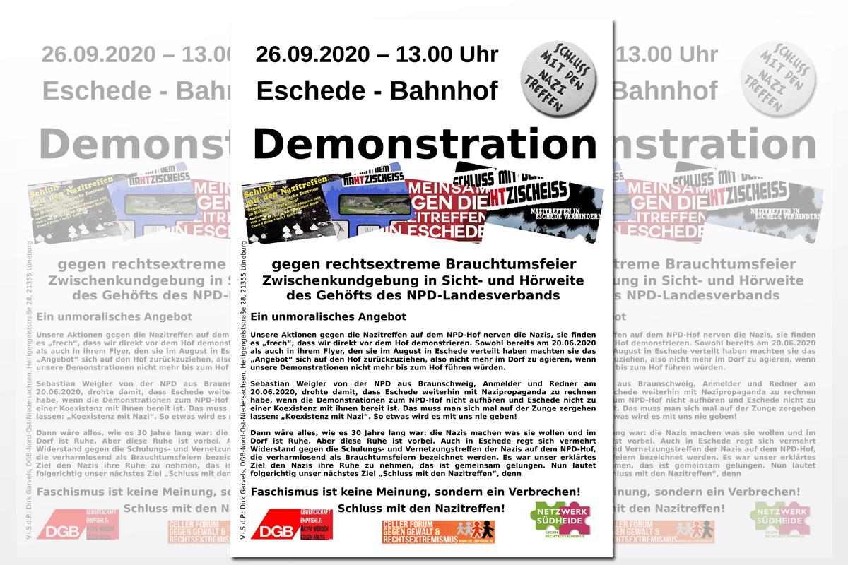 """Netzwerk Südheide und DGB rufen zur Demonstration gegen rechtsextremes """"Reichserntefest"""" auf dem NPD-Hof Nahtz auf"""