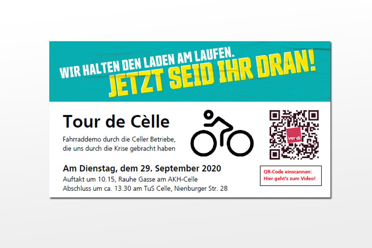 """Tarif- und Besoldungsrunde verdi: """"Tour de Cèlle am Di. 29.09.20"""