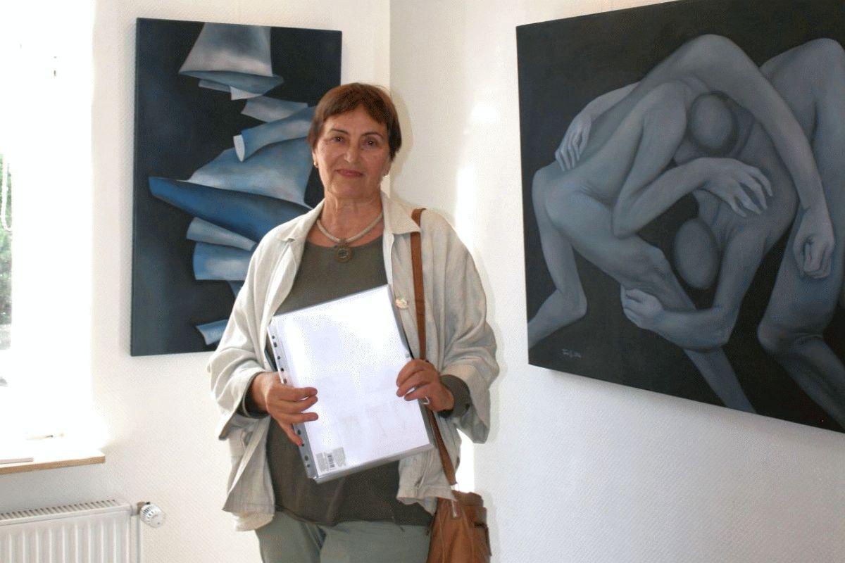 Bestechende Dynamik in der Bewegung von Figuren – Taissia Habekost demonstriert ihre Technik (Öl auf Glanzpapier)