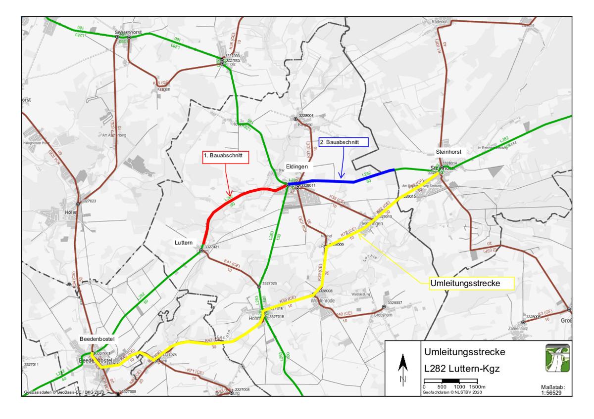 L 282 Fahrbahnerneuerung zwischen Luttern und der Kreisgrenze des Landkreises Celle