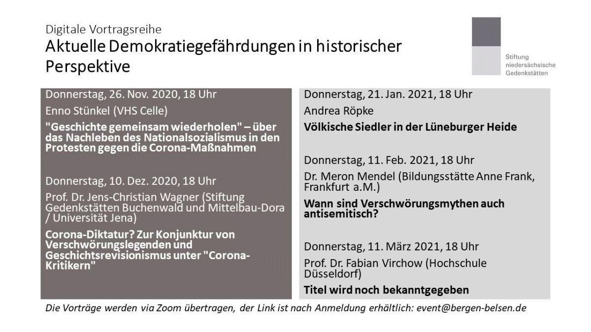"""Online-Vortragsreihe der Stiftung niedersächsische Gedenkstätten: """"Aktuelle Demokratiegefährdungen in historischer Perspektive"""""""