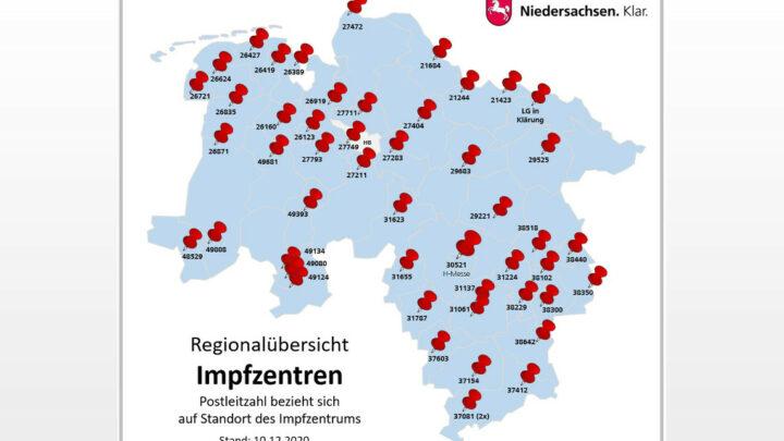 50 Impfzentren in ganz Niedersachsen – 49 Standorte stehen fest