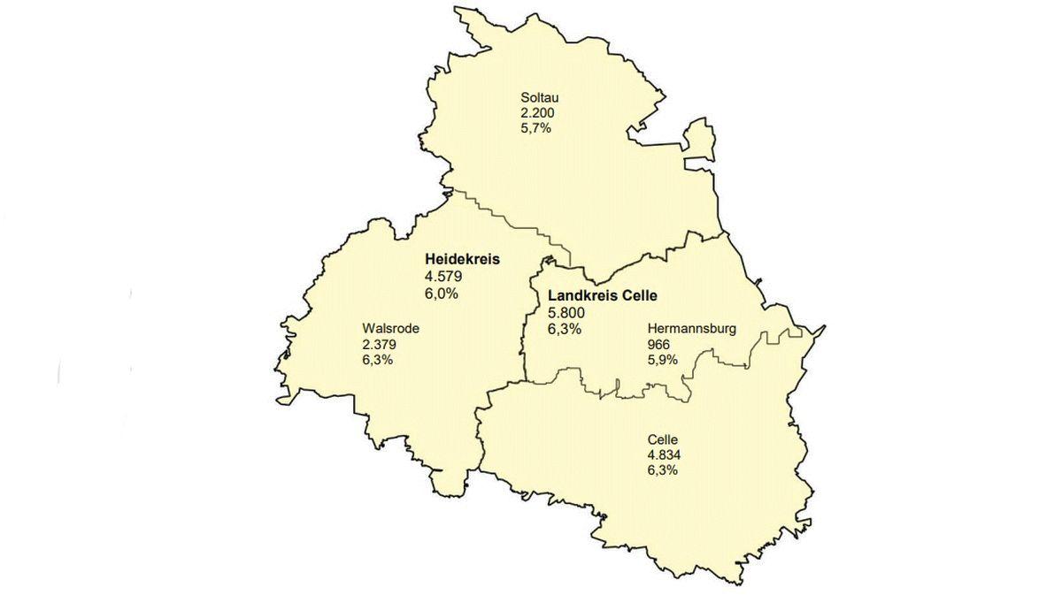 Unterschiedliche Trends in den Arbeitslosenzahlen im Heidekreis und Landkreis Celle