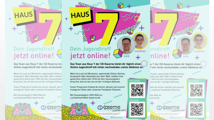 """News aus dem Jugendtreff """"Haus Nr. 7"""" in der CD-Kaserne: Jugendarbeit geht auch digital – dies zeigt das pädagogische Team des Jugend- und Veranstaltungszentrums"""