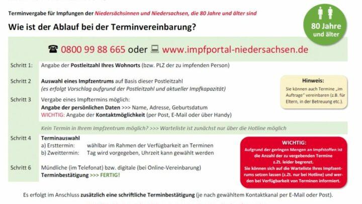 Terminvergabe für Impfungen der Niedersächsinnen und Niedersachsen, die 80 Jahre und älter sind, beginnt am Donnerstag – Landesregierung bittet Impfberechtigte um Geduld